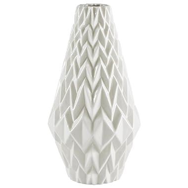 Rivet Modern Geometric Pattern Decorative Stoneware Vase, Large Centerpiece, 12.25 H, White