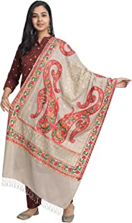 Kashmir Women Stole Scarf Wrap Shawl with Indian Embroidery Flower
