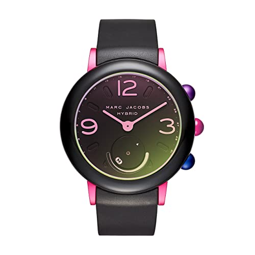 Marc Jacobs Womens Riley Aluminum and Rubber Hybrid Smartwatch, Color: Pink, Black (