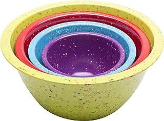 Zak Designs Confetti 4-piece Plastic Mixing Bowl Set, Kiwi, Red & Turquoise