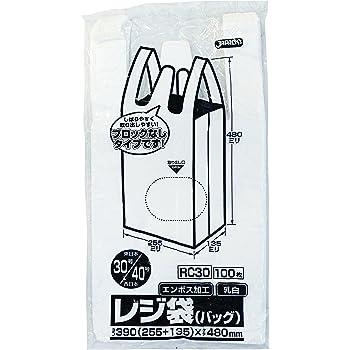 ジャパックス レジ袋 乳白 約縦48cm×横25.5cm(マチ13.5cm) エンボス加工 取っ手付き ポリ袋 RC-30 100枚入