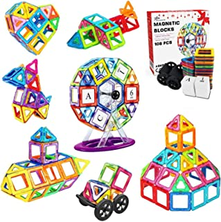 Jasonwell 108 Pcs Magnetic Tiles Building Blocks Set for Boys Girls Preschool Educational Construction Kit Magnet Stacking...