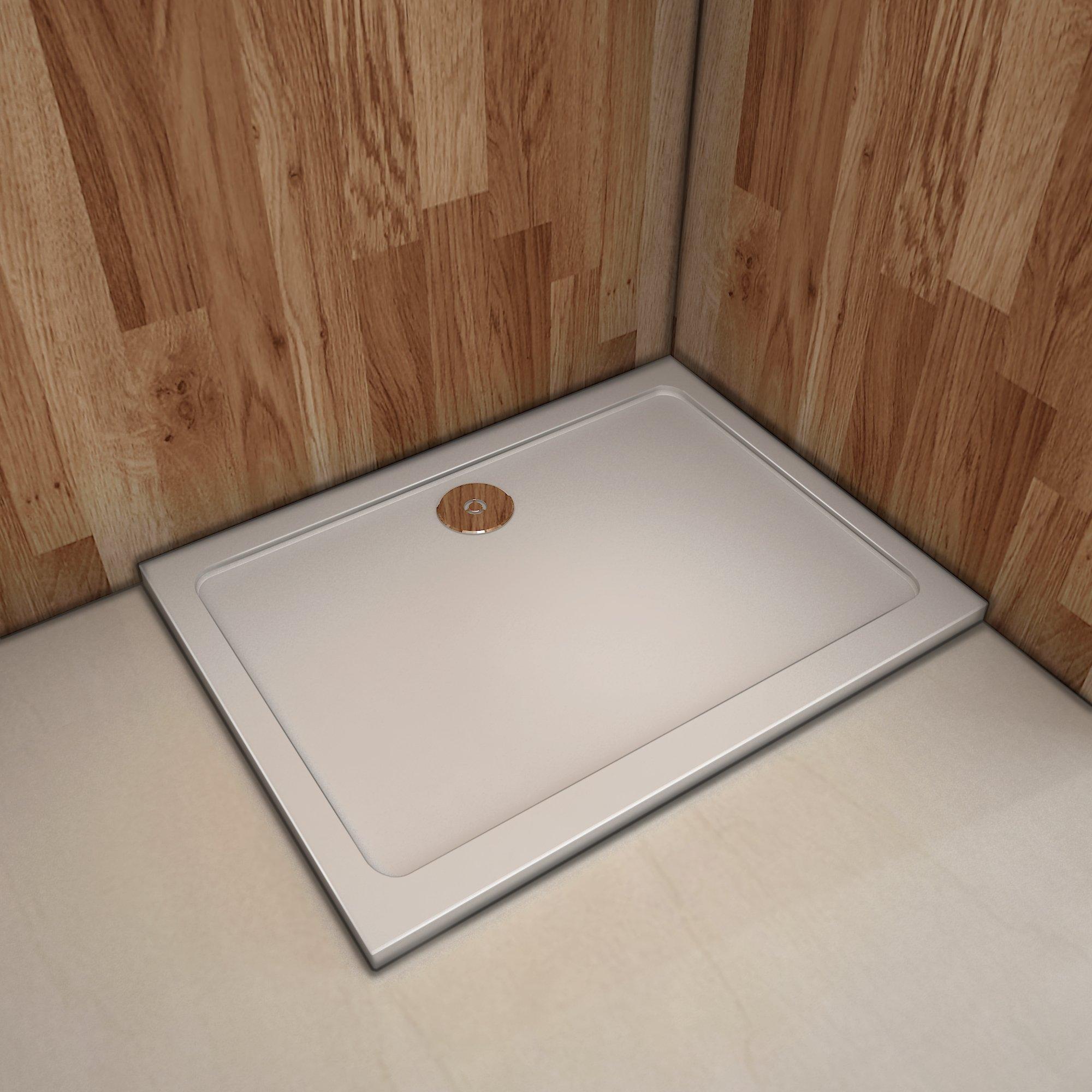 Plato de ducha Resina Blanco, Extraplano, Rectangular 100x80cm: Amazon.es: Bricolaje y herramientas