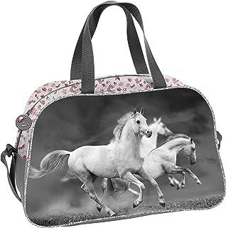 Ragusa-Trade Bolsa de deporte para niña con diseño de caballos (19HS) para niñas, gris, 40 x 25 x 13 cm