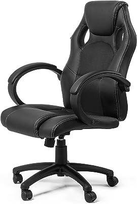 MY SIT Silla de Oficina Silla de Escritorio Gaming Racing con Reposabrazos diseño Black