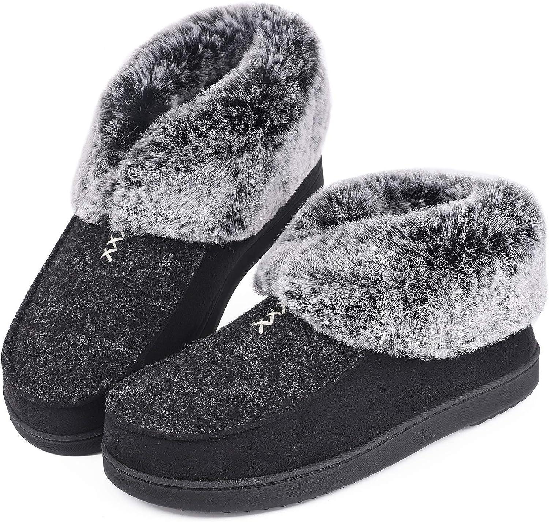 Women's Cozy Memory Foam Slippers Fluffy Faux Tulsa Mall Great interest Wool Like Fur Flee