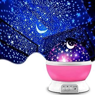 Shayson プラネタリウム 家庭用 スタープロジェクターライト 寝かしつけ用おもちゃ 360°回転 ベットサイドランプ 8種類ライトカラー 2点灯モード 多色変更&輝度調節可能 母の日 赤ちゃんおもちゃ 女の子 プレゼント(ピンク)
