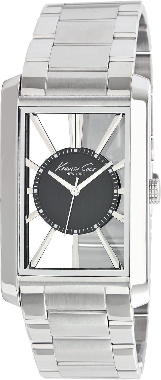 Kenneth Cole TRANSPARENCY - Reloj analógico de caballero de cuarzo con correa de acero inoxidable plateada - sumergible a 100 metros