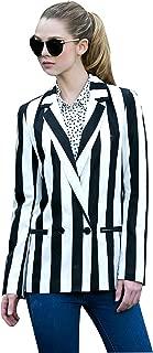 Women Black and White Striped Beetlejuice Costume Long Sleeve Blazer Jackets