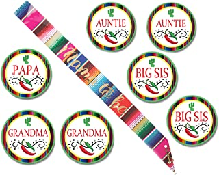 Fiesta Baby Shower Sash with Matching Fiesta Cactus Theme Buttons for Papa Grandma Auntie Big Sis Set of 8