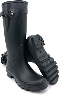 Rongee Women's Rubber Rain Boots Black with Adjustable...