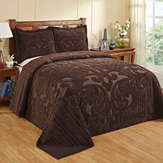 Better Trends Ashton Collection in Medallion Design 100% Cotton Tufted Chenille, King Bedspread, Chocolate