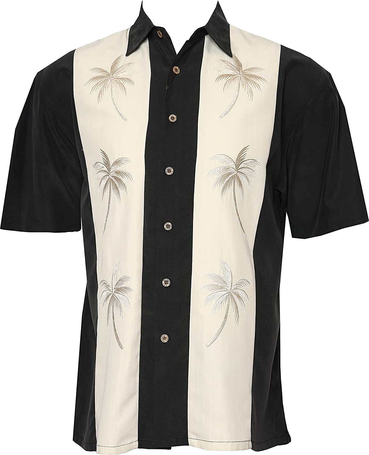 Bamboo Cay Mens Ranking TOP4 Short Sleeve Paneled Embroi Palms Casual Pacific Albuquerque Mall