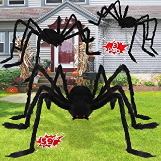 LOVKIZ Halloween Giant Spider Decorations (3 PACK), Realistic Halloween Spider Props, Fake Scary Hairy Spiders Sets for Ha...