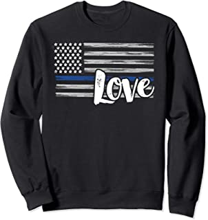 Cute Thin Blue Line Flag Love - Police Wife or Girlfriend Sweatshirt