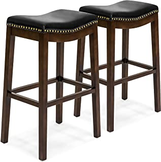 Best Choice Products 31in Faux Leather Upholstered Backless Counter Bar Stool w/Brass Nailhead Trim, Set of 2, Black