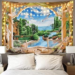 Sevenstars Luxury Home Castle Tapestry 3D Nature Landscape Tapestry for Room, Plant Garden Tapestry