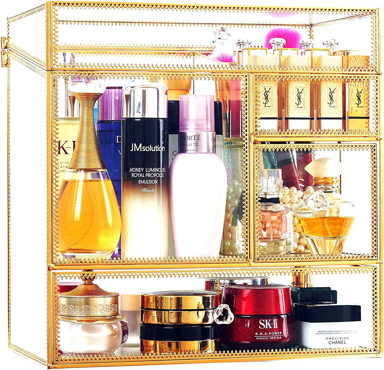 Stackable Glass Max 54% OFF Makeup Organizer free Antique Cosme Countertop Vanity