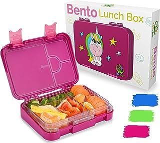 TAKWAY Bentobox dziecięcy pojemnik na kanapki z przegródkami, z motywem jednorożca, kolor liliowy, z przegródkami, różne 4...