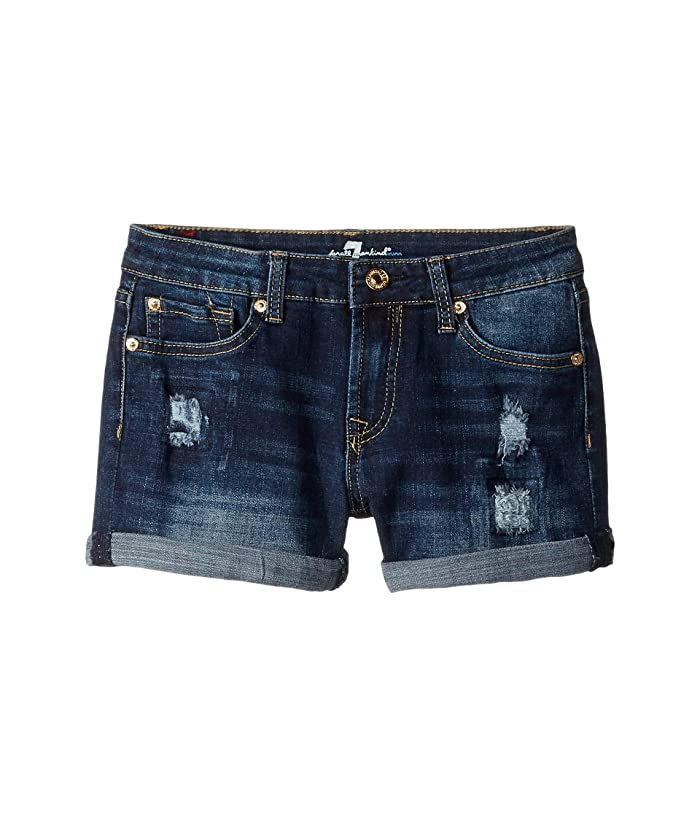 7 For All Mankind Kids  Roll Cuff Stretch Denim Shorts in Aggressive Madison (Big Kids) (Aggressive Madison) Girls Shorts