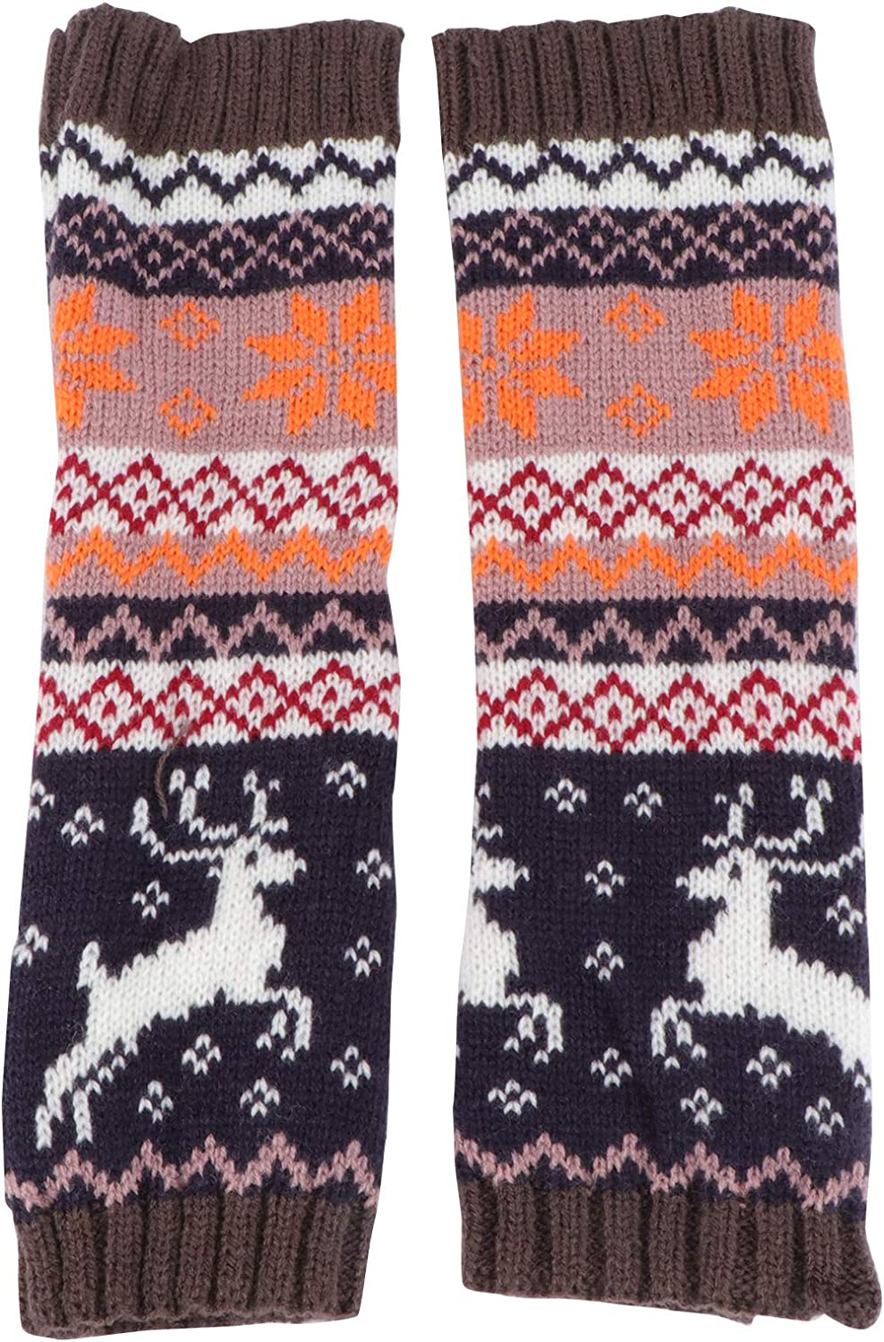 ABOOFAN 1 Pair of Knitting Glove Arm Sleeve Winter Cartoon Christmas Gloves for Lady Party Favor