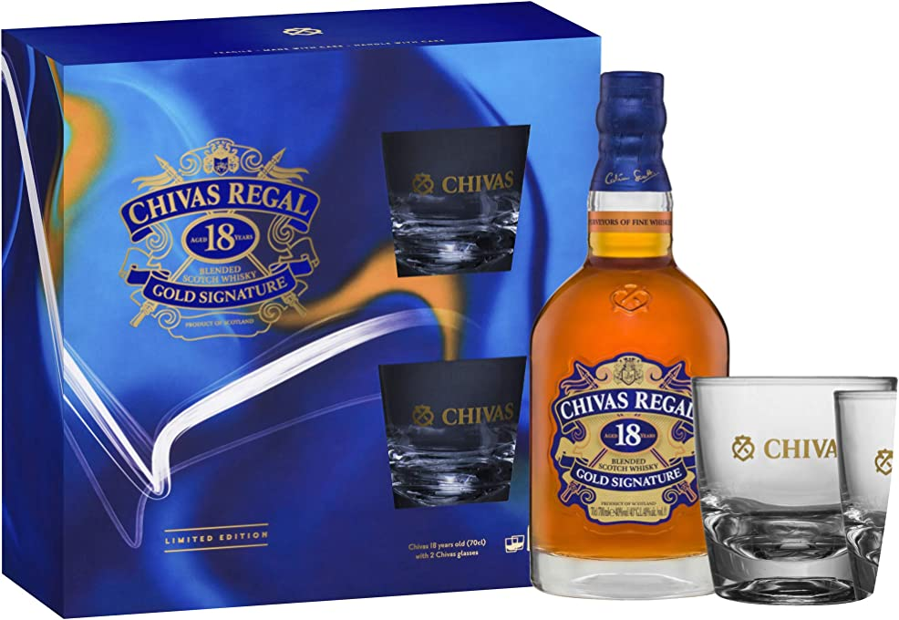 Chivas Regal 18 Year Old Blended Scotch Whisky with 2 Glasses , 700 ml