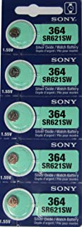 Sony 364 (SR621SW) 1.55V Silver Oxide 0% Hg Mercury Free Watch Battery (5 Batteries)