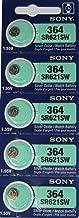 Sony 364 (SR621SW) 1.55V Silver Oxide 0% Hg Mercury Free Watch Battery (5 Batteries)