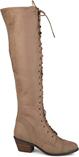Brinley Co. Womens Blitz Faux Leather Regular and Wide Calf Over-The-Knee Lace-up Brogue Boots