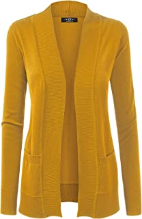 Made By Johnny MBJ WSK926 Women Open Front Knit Cardigan 3X Mustard