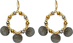 Rebecca Minkoff - High Shine Pompom Chandelier Earrings