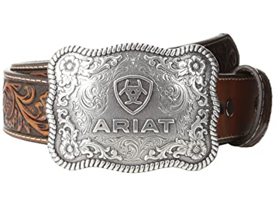Ariat Rectangle Rope Edge Shield Buckle Belt (Black/Tan) Men