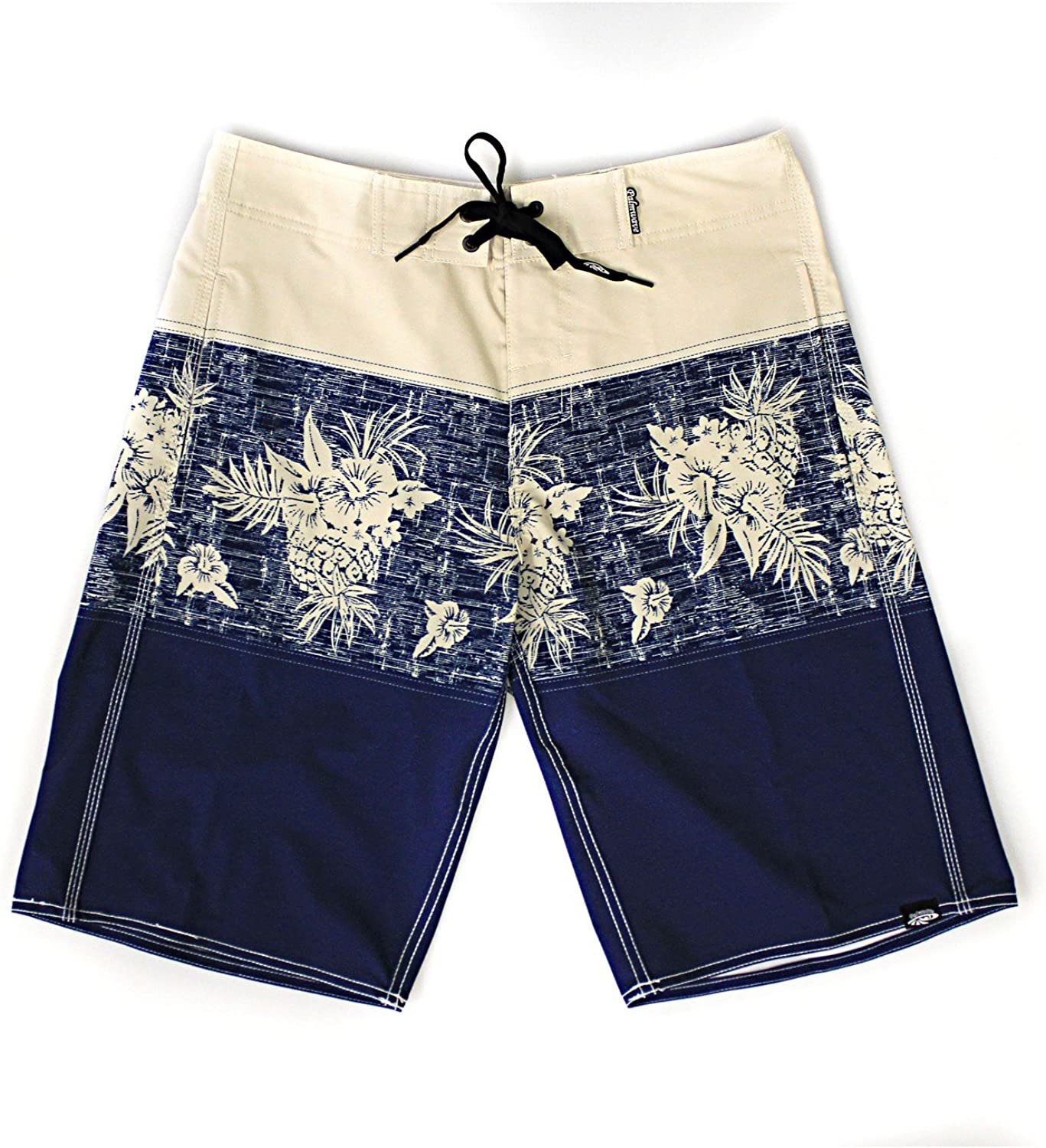 Men's Beach Wear Board Shorts with Pocket in Rustic Vintage Floral in Blue Navy Red