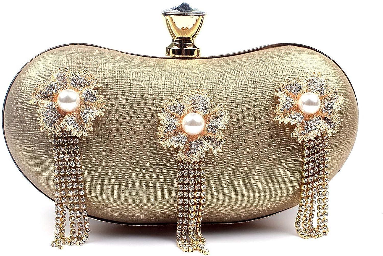 Ladies Handbag Flowers Dinner Bag Bag Ladies Dress Diamond Hand Fringed Bao Xinpin (color   golden)