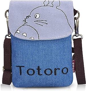 Double Villages Crossbody Totoro Taschen Segeltuch Klein Niedlich Zelle Brieftasche Tasche Telefon Geldbörse mit Schulter Gurt Münze Geldbörse