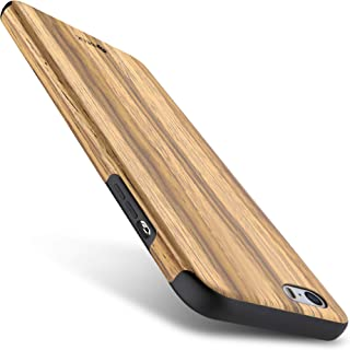 iPhone SE Case, iPhone 5S Case, B BELK [Air To Beat] Non Slip Wood Tactile [Slim Matte] Grip Bumper [Ultra Light] Soft TPU Back Cover, Premium Smooth Wooden Shell for iPhone SE/iPhone 5S, Teak