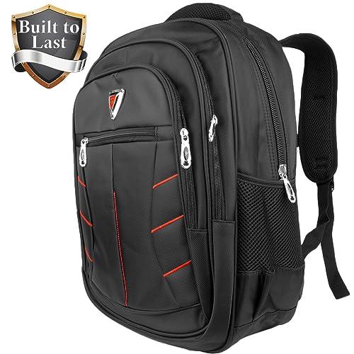 59857b0f2b4123 Waterproof Backpack with Laptop Sleeve - Black & Red Men School or Travel  Accessories Bag