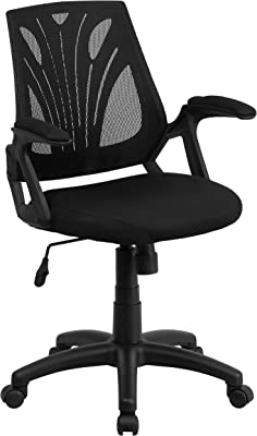 Flash Furniture Mid-Back Designer Black Mesh Swivel Task Office Chair with Open Arms