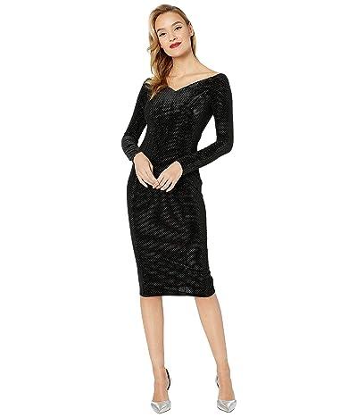 Unique Vintage 1960s Velvet Long Sleeved Cape Cod Wiggle Dress (Black Velvet) Women
