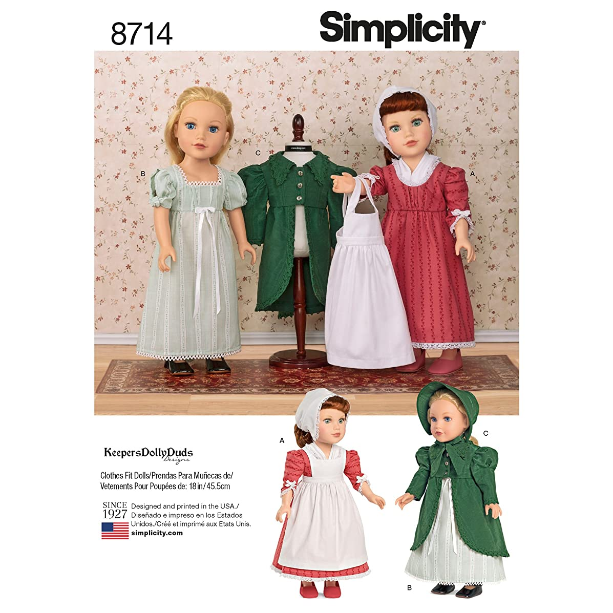 Simplicity Sewing Pattern 8714 OS 18-Inch Doll Clothes, One Size, by Simplicity Creative Patterns