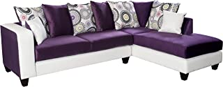 Flash Furniture Riverstone Implosion Purple Velvet Sectional with Right Side Facing Chaise