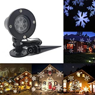 Christmas Snowflake Projector Lights,AVEKI LED Rotating White Snowflakes Spotlight Waterproof Moving Automatically Decorative Landscape Lighting for Christmas Indoor Outdoor Decor (White-Snowflake)