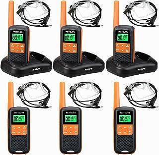 Retevis RT649 Walkie Talkie, PMR446 Licentievrij 16 Kanalen, VOX SCAN, LED-Zaklamp, IP65 Waterdicht, Twee Oplaadmethoden, ...