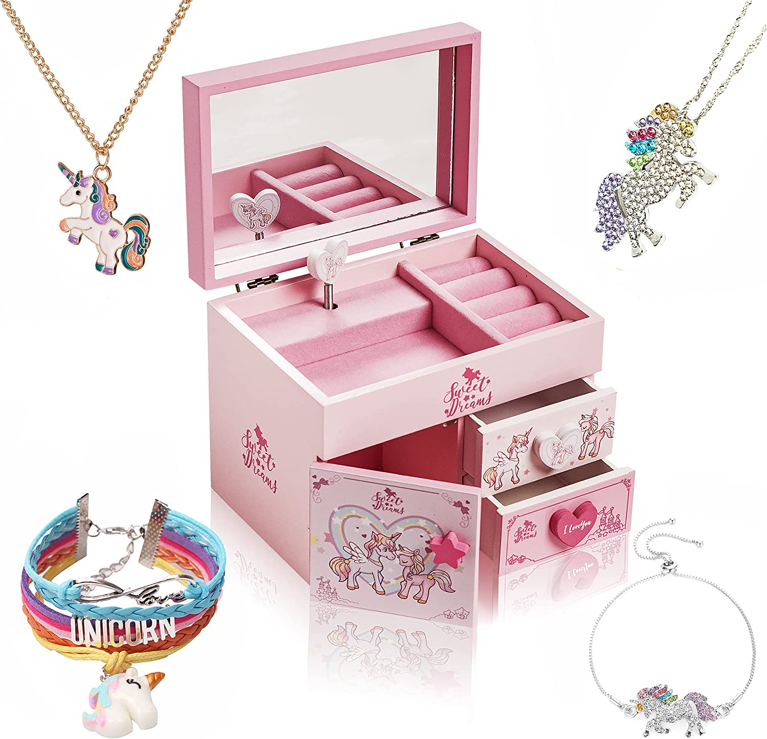 ZOOWING Kids Musical Wooden Jewelry Storage Box Gifts with Unico