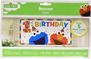 amscan Sesame Street Elmo Turns One Horizontal Giant Sign Banner, Birthday