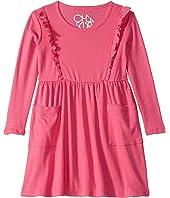Baby Rib Long Sleeve Ruffle Dress w/ Pockets (Toddler/Little Kids)