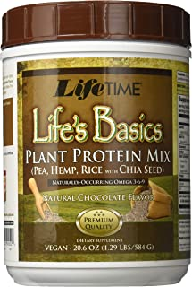 Lifetime Life's Basics Plant Based Protein Powder, Natural Chocolate, 1.22lb