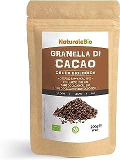 Nibs de Cacao Crudo Ecológico 200 g. 100 % Puntas de Cacao Bio, Natural y Puro. Cultivado en Perú a partir de la planta Theobroma cacao. Fuente de magnesio, potasio y hierro. NaturaleBio
