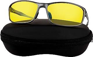 Optix 55 Aluminum Night Driving Glasses Anti Glare Polarized - Night Vision Glasses for Driving Biking Fishing | Yellow Tint Polarized Lens Night Glasses for Men & Women, Aluminum Frame | Case + Cloth Included