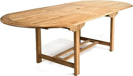 Ordinaire DIVERO GL05525 Großer Ovaler Ausziehbarer Gartentisch Esstisch Balkontisch  Holz Teak Tisch Für Terrasse Balkon Wintergarten Witterungsbeständig